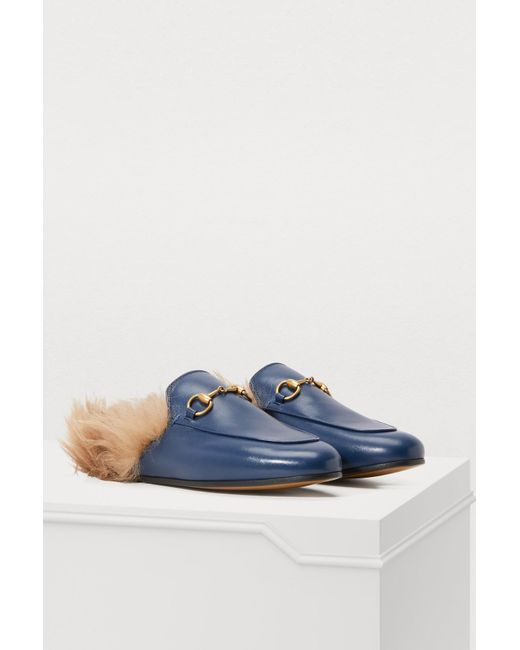 86c295775d5 ... Gucci - Blue Princetown Shearling Lined Leather Backless Loafers - Lyst  ...