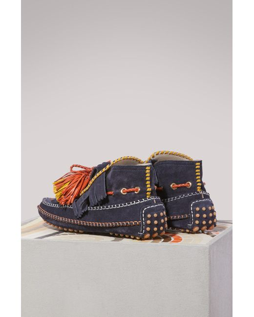 Carven Leather loafers with pompoms V0m2r