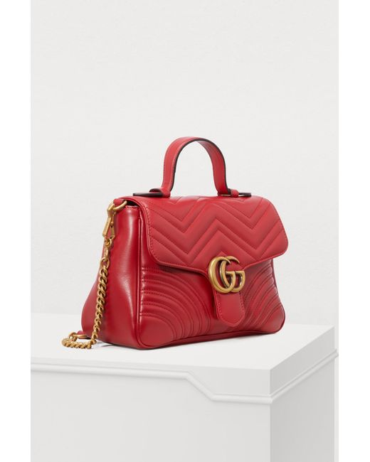 07d1ecb29 Gucci GG Marmont Matelassé Top Handle Bag in Red - Save 19% - Lyst