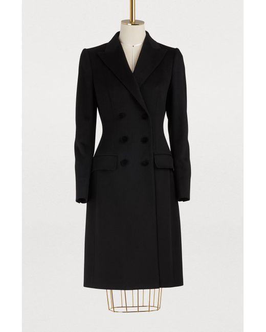 Dolce & Gabbana - Black Wool And Cashmere Coat - Lyst