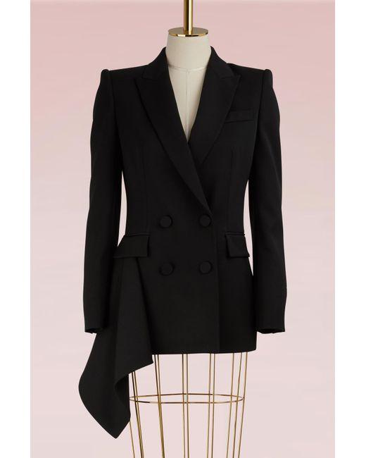 Alexander McQueen | Black Double-breasted Wool Jacket | Lyst