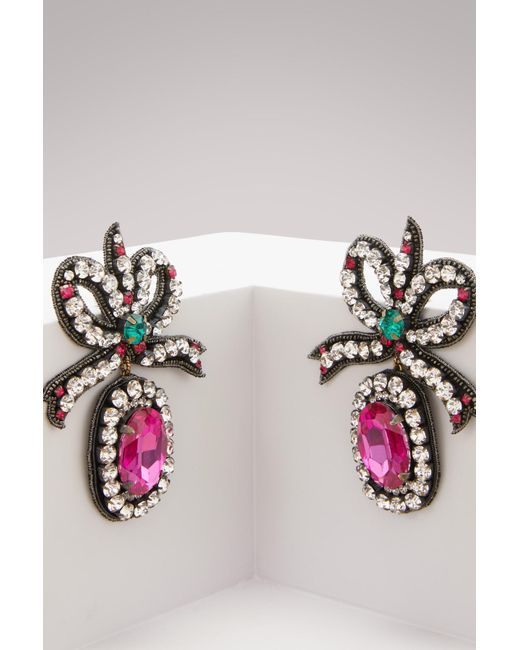Gucci - Multicolor Crystal Embroidered Bow Earrings - Lyst