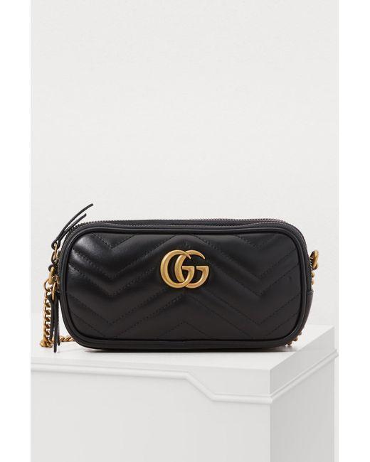 4c1e39ee405b Gucci - Black GG Marmont Mini Crossbody Bag - Lyst ...