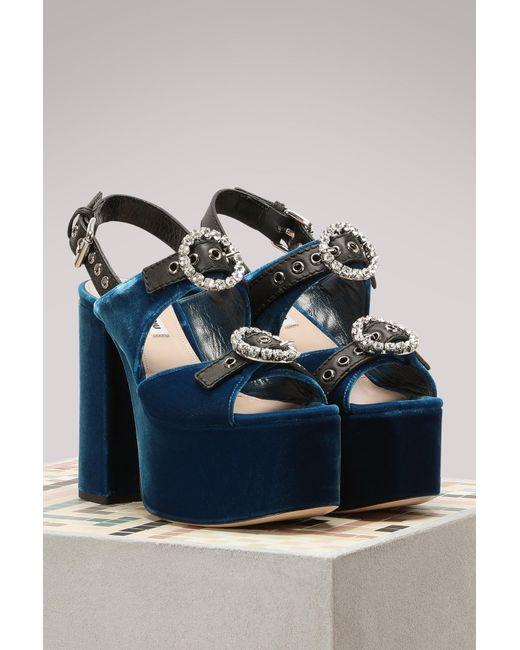 a4b9b38c7202a ... Miu Miu - Blue Velvet High Heels Sandals - Lyst ...