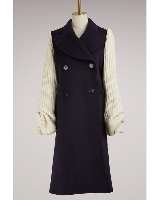 J.W. Anderson | Blue Wool Coat With Knit Sleeves | Lyst