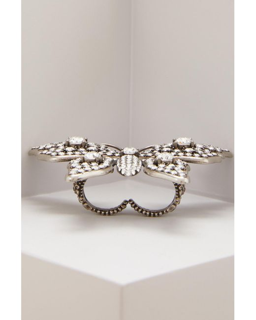 Gucci - Metallic Butterfly Multifinger Ring - Lyst