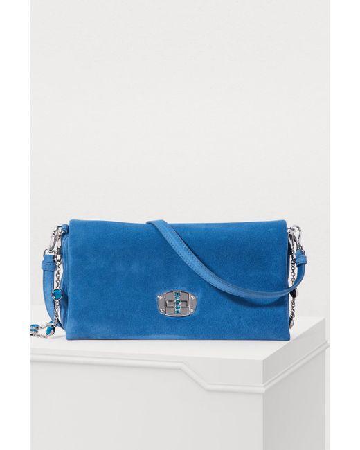 Miu Miu - Blue Leather Miu Crystal Clutch - Lyst ... deb3af5ccc735
