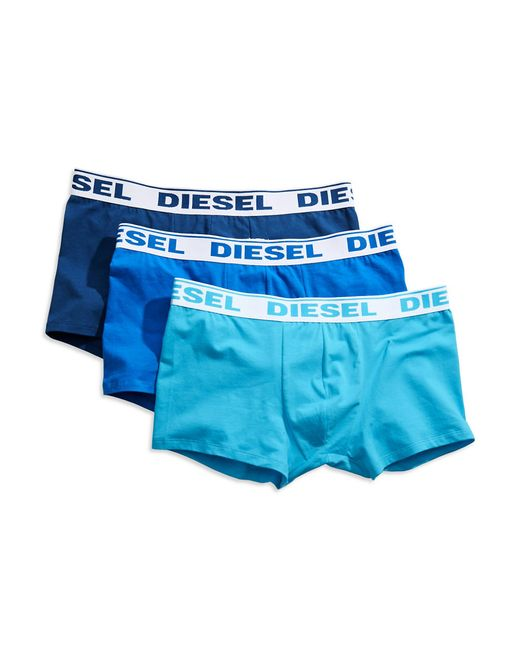 DIESEL | Blue Three-pack Stretch Cotton Boxer Trunks for Men | Lyst