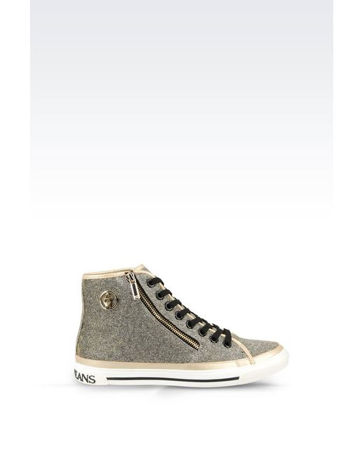 armani jeans high top sneaker in metallic lyst. Black Bedroom Furniture Sets. Home Design Ideas