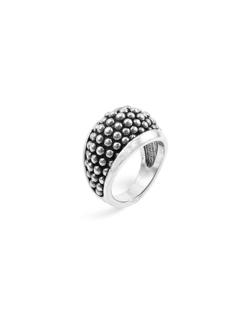 "Lagos | Metallic Sterling Silver ""caviar"" Domed Ring 