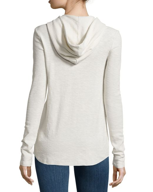 James perse thermal hooded henley in beige tusk lyst for James perse henley shirt