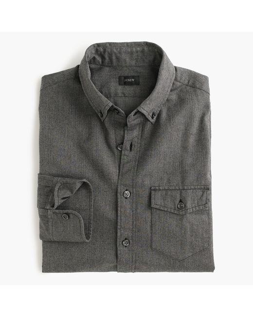 J.Crew | Gray Slim Brushed Twill Shirt In Herringbone for Men | Lyst
