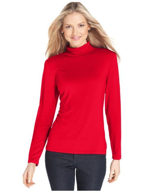 Style & Co. | Red Mock-turtleneck Top, Only At Macy's | Lyst