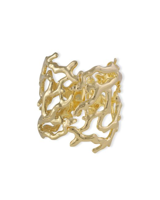 Kenneth Jay Lane | Metallic Polished Gold Coral Branch Hinged Cuff | Lyst