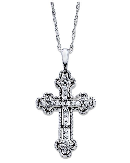 Macy S Diamond Antique Cross Pendant Necklace In 14k White