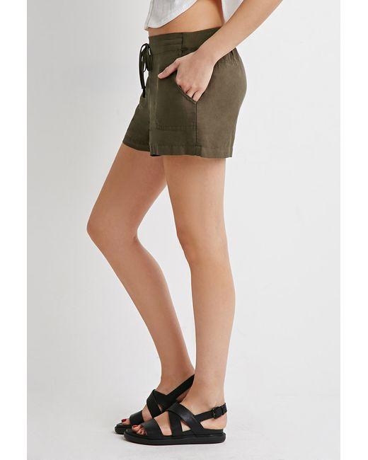 Forever 21 | Green Life In Progress Linen-blend Drawstring Shorts | Lyst