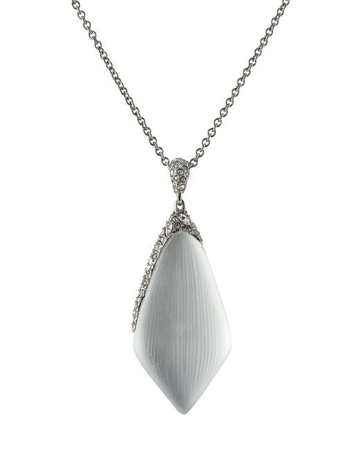 Alexis Bittar | Metallic Rhodium Plated Necklace With Lucite And Crystals - Silver | Lyst