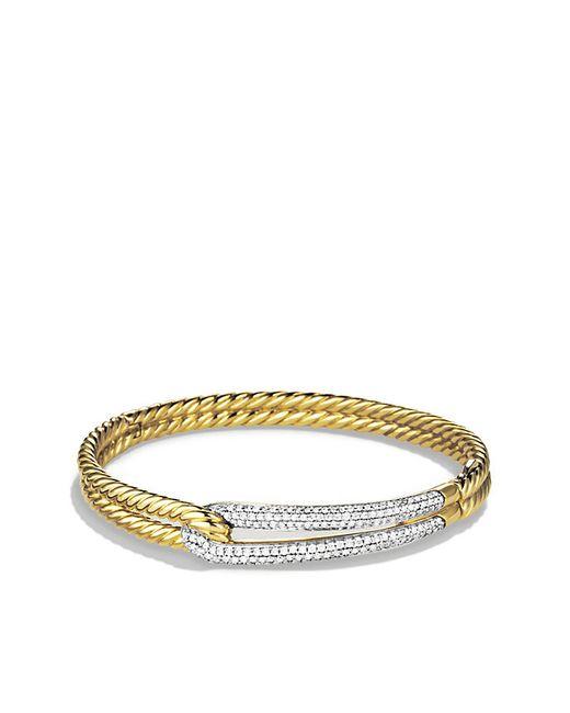 David Yurman | Metallic Labyrinth Single-loop Bracelet With Diamonds In 18k Gold, 8mm | Lyst