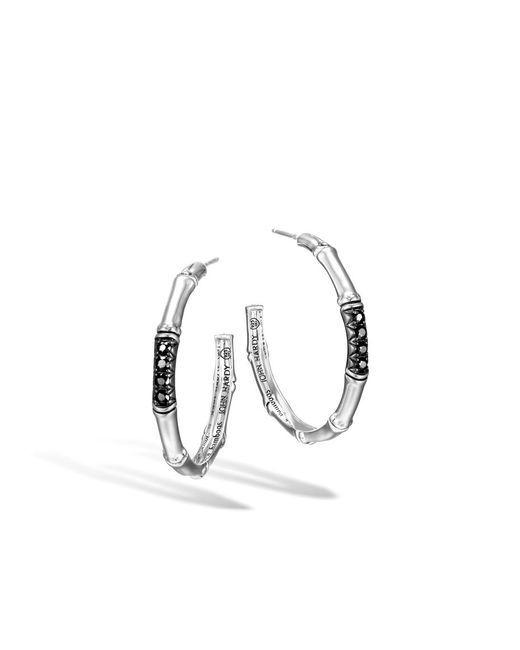 John Hardy | Metallic Medium Hoop Earring With Black Sapphire | Lyst