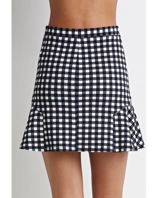 Forever 21 | Black Gingham Print Fluted Skirt | Lyst