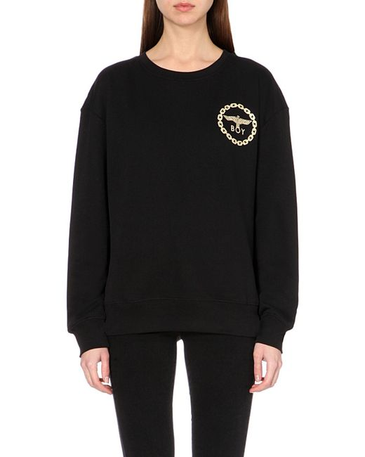 BOY London | Black Metallic Chains Cotton-jersey Sweatshirt for Men | Lyst