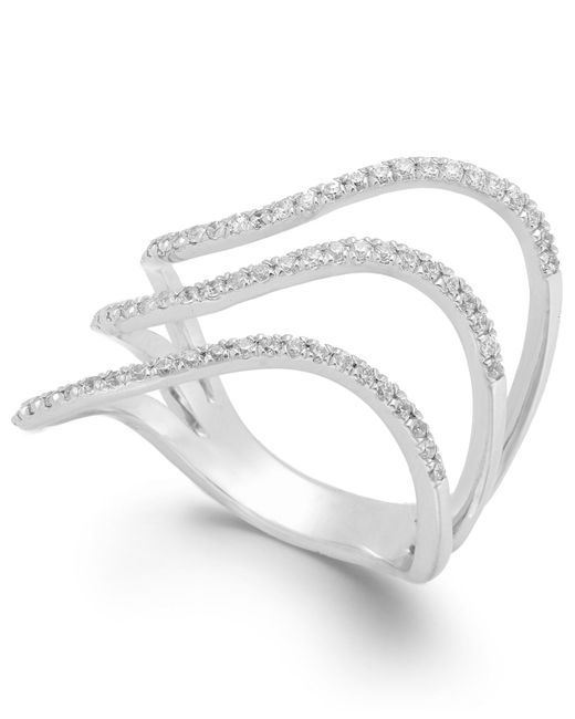 Macy's | Diamond Wavy Three-row Ring In 14k White Gold (1/3 Ct. T.w.) | Lyst