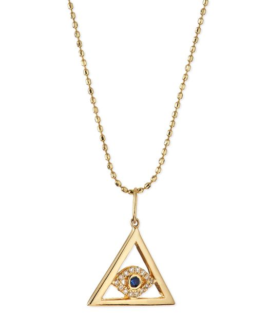 Sydney Evan | Metallic 14k Gold Evil Eye Pyramid Pendant Necklace | Lyst