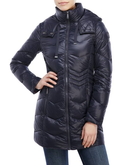 Dkny Chevron Quilted Packable Down Jacket In Blue Navy