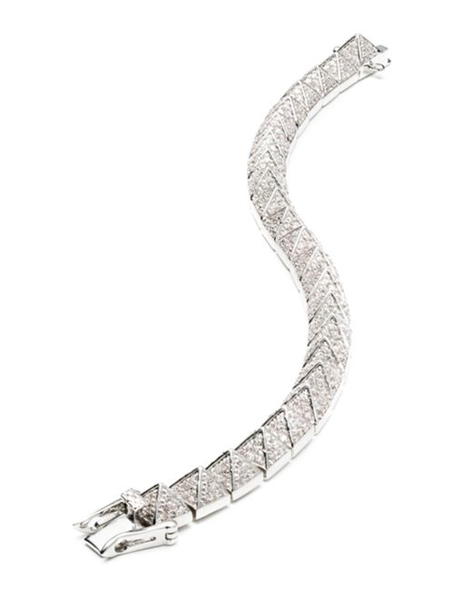 Eddie Borgo | Metallic Small Rhodium-plated Pave Crystal Pyramid Bracelet | Lyst