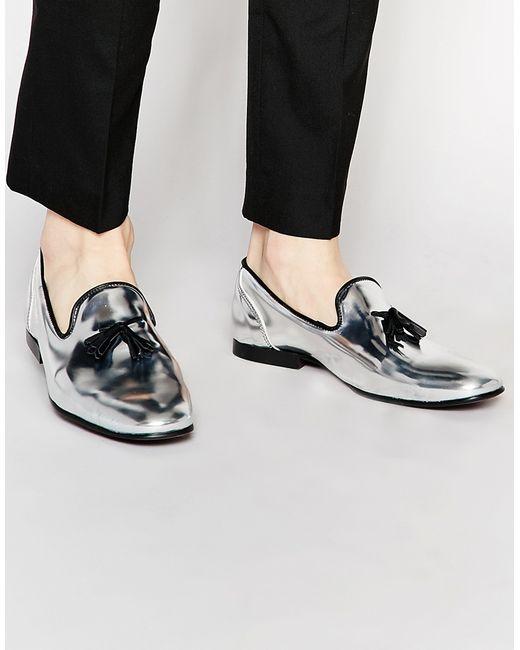 Asos Tassel Loafers In Metallic Silver Leather In Silver