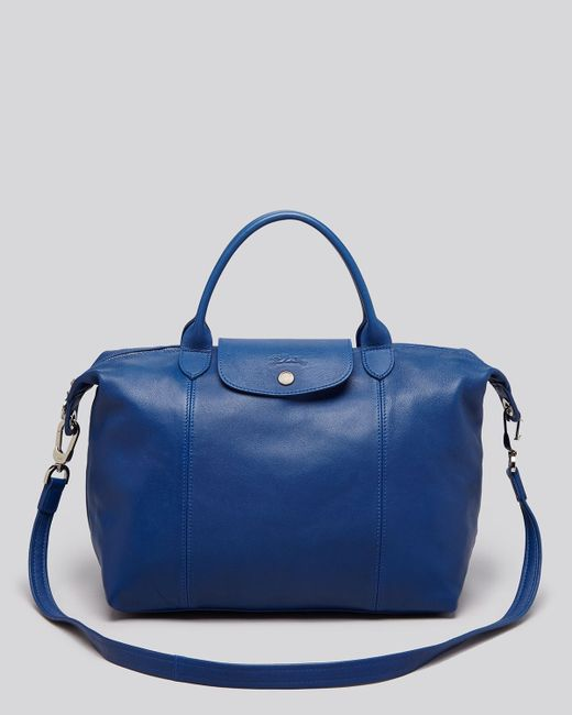 Longchamp | Blue Le Pliage Cuir Medium Satchel | Lyst