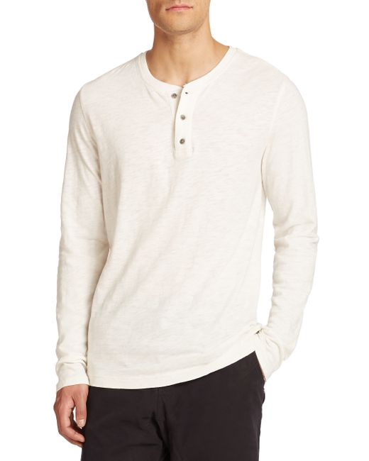 Madison Supply | White Slubbed Cotton Henley for Men | Lyst