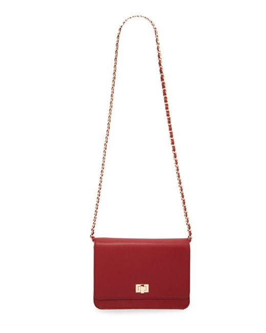 Forever 21 | Red Faux Leather Chain Strap Crossbody | Lyst