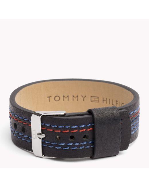 Tommy Hilfiger | Black Leather Strap Bracelet | Lyst