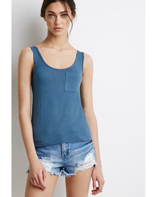 Forever 21 | Blue Classic Pocket Tank | Lyst