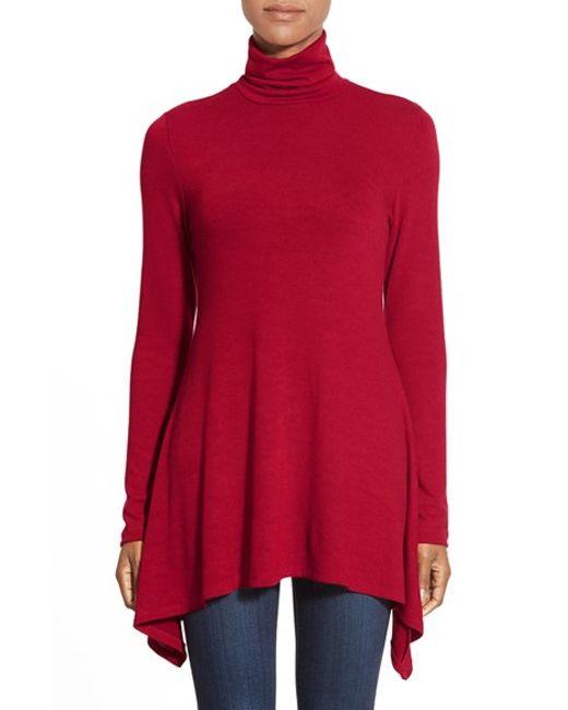 Karen Kane | Red Handkerchief Hem Turtleneck Top | Lyst
