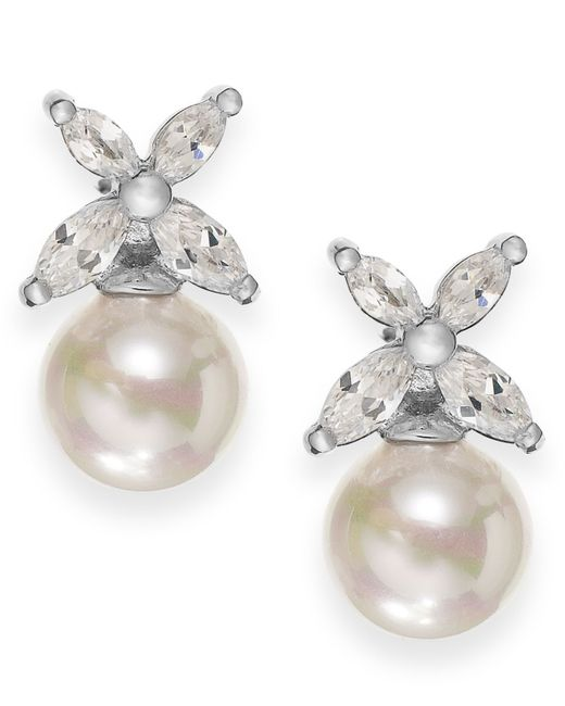Majorica | Metallic Sterling Silver Organic Man-made Pearl Butterfly Stud Earrings | Lyst