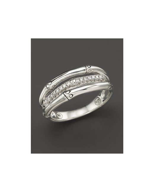 John Hardy | Metallic Bamboo Sterling Silver Ring With Diamonds | Lyst