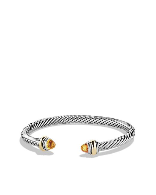 David Yurman | Metallic Cable Classic Bracelet With Citrine And 14k Gold, 5mm | Lyst