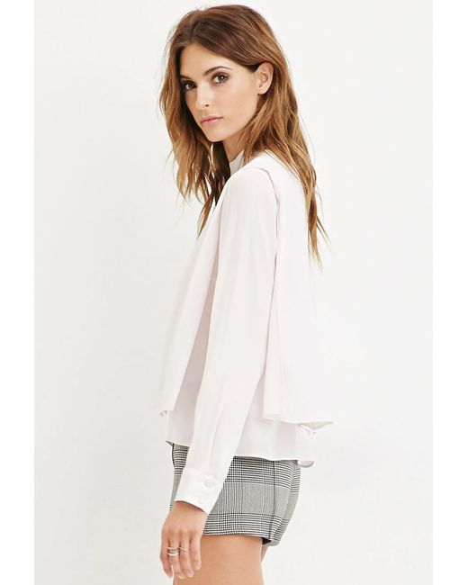 Forever 21 | Pink Contemporary Draped Chiffon Blouse | Lyst