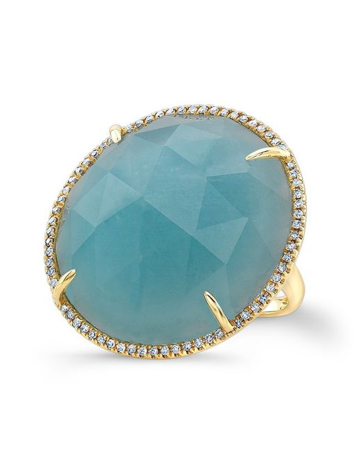 Anne Sisteron | Metallic 14kt Yellow Gold Amazonite Diamond Cocktail Ring | Lyst