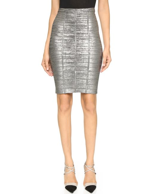 herv 233 l 233 ger pencil skirt in silver gunmetal combo save