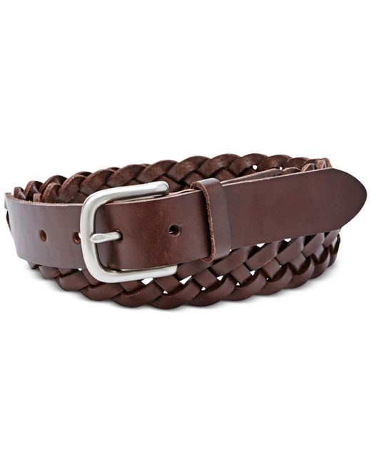 fossil mystery braid belt in brown espresso save 48