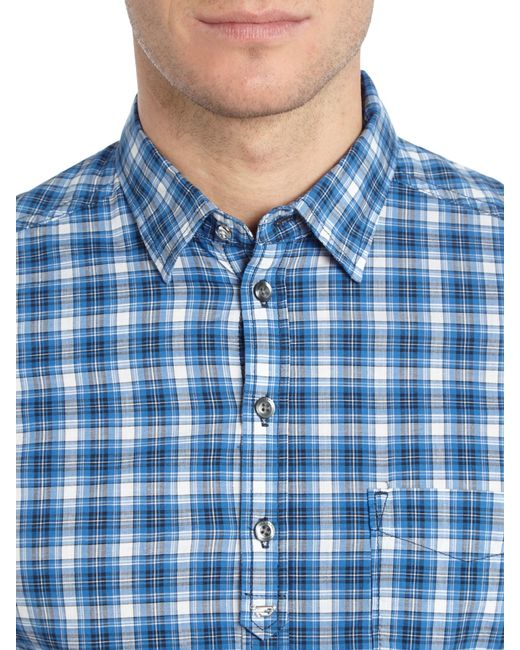 DIESEL | Blue S-jugo Short Sleeve Check Shirt for Men | Lyst
