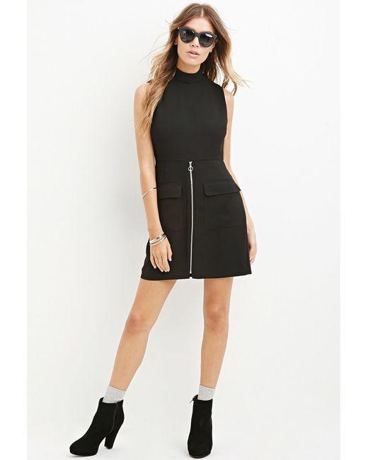 Forever 21 | Black Zippered Mini Sheath Dress | Lyst