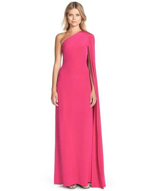 JILL Jill Stuart   Pink Cape Sleeve Crepe Gown   Lyst