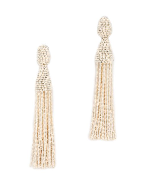 Oscar de la Renta | White Tassel Earrings | Lyst