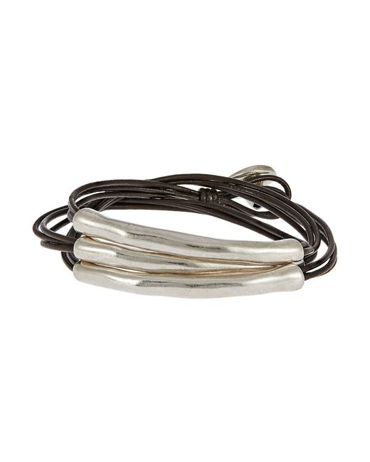 Uno De 50 | Brown Metal And Leather Bracelet | Lyst