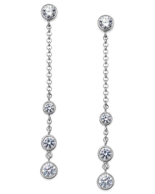 Arabella | Metallic Swarovski Zirconia Station Linear Earrings In Sterling Silver (2-3/4 Ct. T.w.) | Lyst