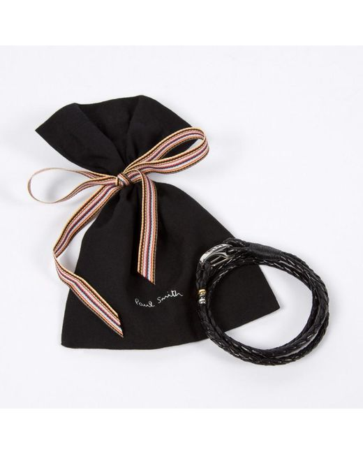 Paul Smith | Men's Black Leather Wrap Bracelet for Men | Lyst